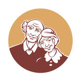 Happy old family. Vector portrait of lovely grandmother and grandfather Royalty Free Stock Image