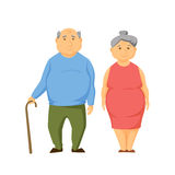 Happy old fat couple stock illustration