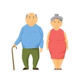 Happy old fat couple Stock Photo