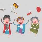 Happy old ladies group . 3D. Happy old ladies group. 3D Isolate. Easy background remove. Easy color change. Easy combine vector illustration