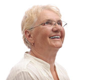 Happy old lady looking up Royalty Free Stock Images