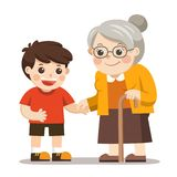 Happy old lady with a walker holding hands of little boy. stock illustration