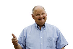 Happy Old Man. A happy older man smiles in approval. Photo isolated with a white background. Photo of a jolly Grandpa or senior retired man with plenty to smile Stock Photos