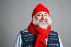 Happy Old Man with Beard in Winter Clothes Royalty Free Stock Photo