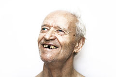 Happy old man. With blue eyes and gray hair stock photo