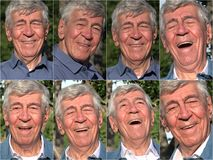 Happy Old Man Collage royalty free stock photography