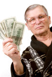Happy old man holding dollars Royalty Free Stock Images