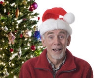 Happy old man in Santa Hat. Happy old man wearing traditional santa hat in front of decorated Christmas tree. Studio isolated on white Stock Photography
