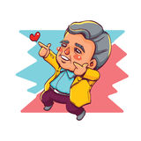 Happy Old Man Two Hands Pointing for Love Stock Photography