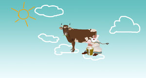 Happy  old milkman with cow Stock Image