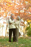 Happy old people. Beautiful happy old people in the autumn park Royalty Free Stock Photo