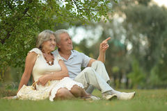 Happy old people. Beautiful happy old people in the park Stock Photography