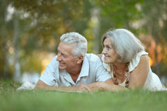 Happy old people. Beautiful happy old people in the park Royalty Free Stock Image