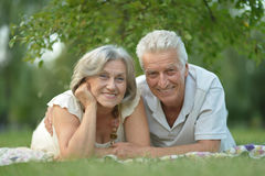 Happy old people. Beautiful happy old people in the park Royalty Free Stock Photo
