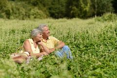 Happy old people. Beautiful happy old people sitting in the summer park Stock Photo