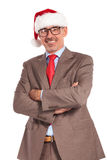 Happy old santa claus businessman with hands crossed smiling Royalty Free Stock Photography