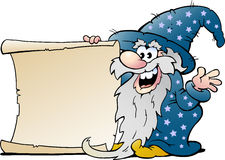 Happy Old Wizard Magic Man with a Roll Of Paper. Vector Cartoon illustration of a Happy Old Wizard Magic Man holding a Roll of Paper royalty free illustration
