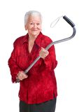 Happy old woman with a cane Royalty Free Stock Photography