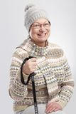 Happy old woman hiking Royalty Free Stock Images