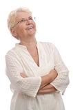 Happy old woman looking up Royalty Free Stock Photos