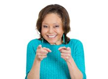 Happy old woman pointing Royalty Free Stock Photo