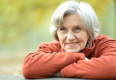 Happy old woman posing at nature. Portrait of a happy old woman posing at nature stock photos