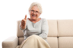 Happy old woman thumb up copy space Royalty Free Stock Photography