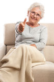 Happy old woman thumb up Royalty Free Stock Images