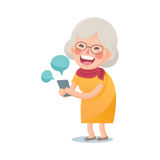 Happy Old Woman Using Smart Phone Stock Photo