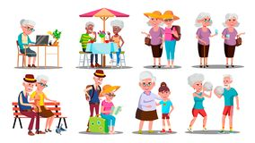 Happy Older Character Grandparents Set Vector. Collection Of Older Person. Man And Woman Play Volleyball And Travel, Sitting On Bench And Cafe, Working On royalty free illustration