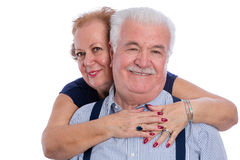 Happy older couple embracing Royalty Free Stock Image
