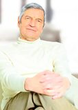 Happy older man. Closeup portrait of happy older man with white hair, smiling stock photography