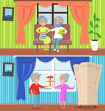 Happy Older People at Home Set of Illustrations. Happy older people at home set of vector illustrations. Couples spending time together in their cosy houses Stock Images