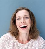 Happy older woman laughing Stock Image