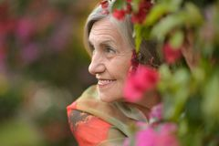 Happy older woman. Happy nise older woman with red flowers Stock Images