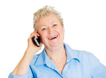 Happy older woman talking on phone Stock Photos