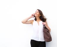 Happy older woman using cell phone Stock Photo