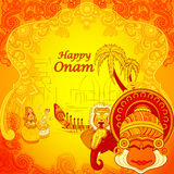 Happy Onam background in Indian art style Stock Images