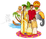 Happy Onam background in Indian art style Royalty Free Stock Photo