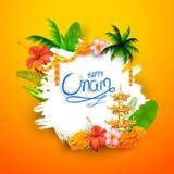 Happy Onam background with rangoli and lamp. Illustration of Happy Onam background with rangoli and lamp stock illustration