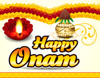 Happy onam celebration background with floral Stock Photography