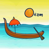 Happy Onam celebration with snakeboat Royalty Free Stock Photography