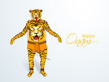 Happy Onam celebration with tiger dance. Royalty Free Stock Photo