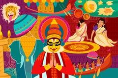 Happy Onam festival celebration background. Vector illustration of Happy Onam festival celebration background Royalty Free Stock Photo