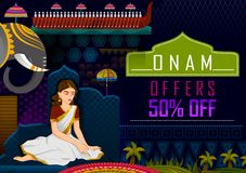 Happy Onam festival greetings sale promotion background to mark the annual Hindu festival of Kerala, India. In vector Stock Photography