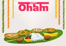 Happy Onam. Food for hindu festival in Kerala. Template vector illustration for greeting card Royalty Free Stock Image