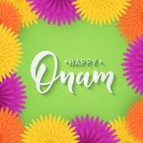 Happy Onam greeting lettering. Ink typography phrase for Indian festival. Black text isolated on festive green Stock Image