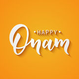 Happy Onam greeting lettering. Ink typography phrase for Indian festival. Black text isolated on festive orange Stock Photos