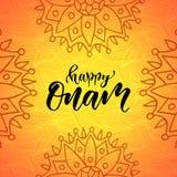 Happy Onam Holiday vector illustration. Modern calligraphy Stock Photography