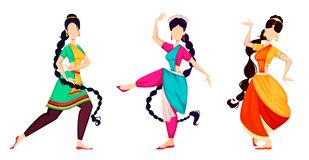 Happy Onam. Indian women dancing. Happy Onam festival in Kerala. Beautiful Indian women dancing in traditional costumes, set of three poses. Vector illustration stock illustration